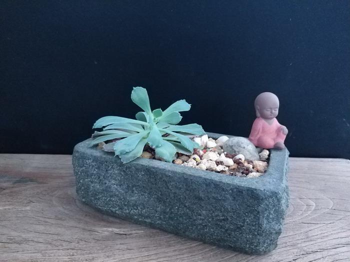 竹篓花器天然青石花盆