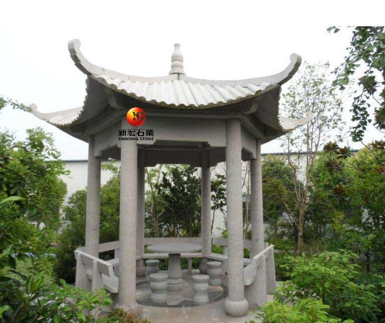 厂家供应石雕凉亭小区公园寺庙户外六角亭子中式亭子庭院背景雕刻