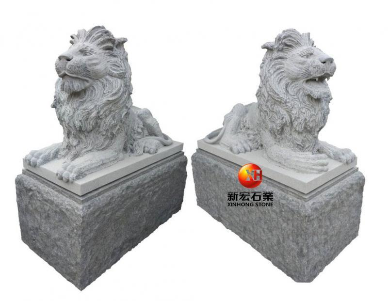 厂家供应古建石雕港币狮、南狮子、北京狮雕塑