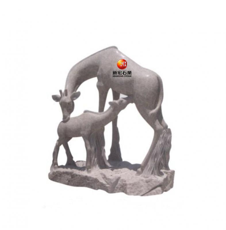 厂家供应石雕长颈鹿母子动物鹿公园广场动物园雕塑