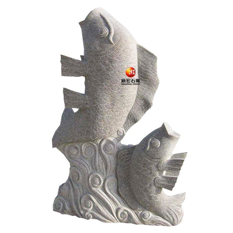 厂家供应景观户外鲤鱼石雕喷水鱼招财吐水花岗岩水池喷泉
