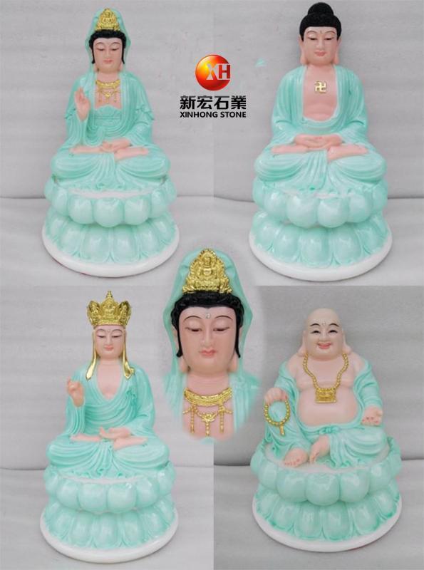 厂家供应汉白玉彩绘三圣释迦牟尼佛观音菩萨地藏菩萨佛像