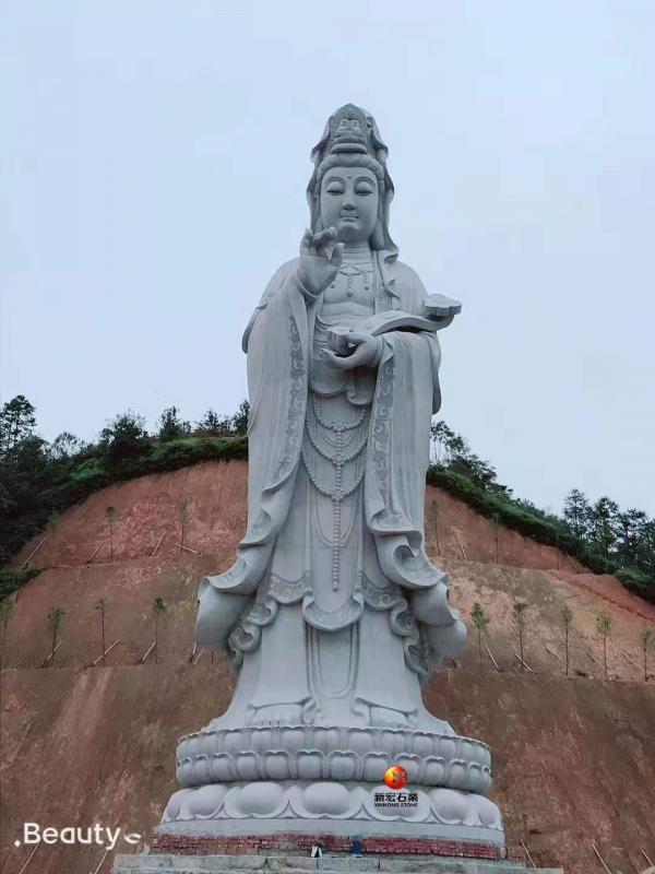 厂家供应寺庙古建广场工程石雕如意观音菩萨雕像雕刻设计