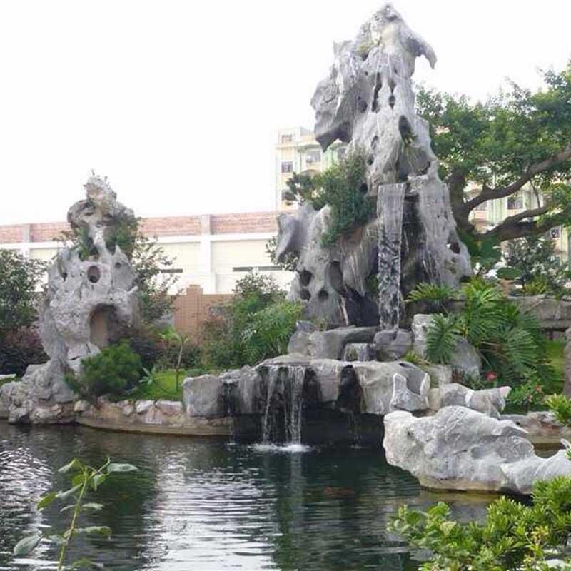 广东太湖石假山制作窟窿石白色石头厂家批发