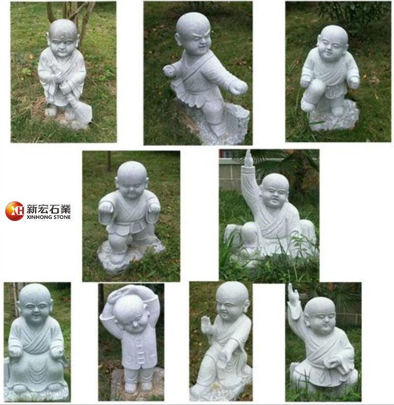 厂家供应石雕像汉白玉小沙弥创意现代玄关内禅意石雕小和尚摆件
