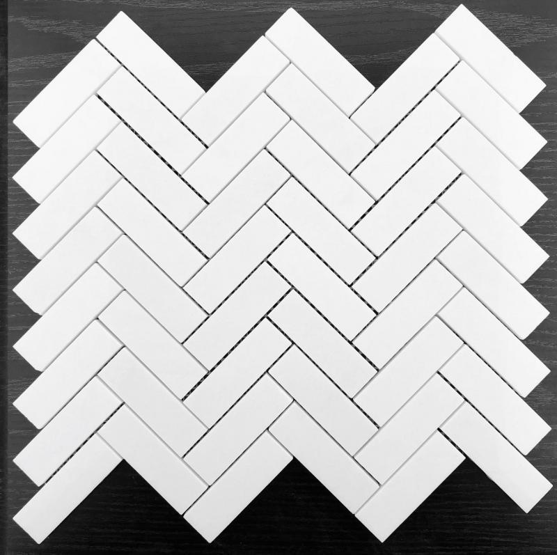 希腊水晶白 人字形马赛克
