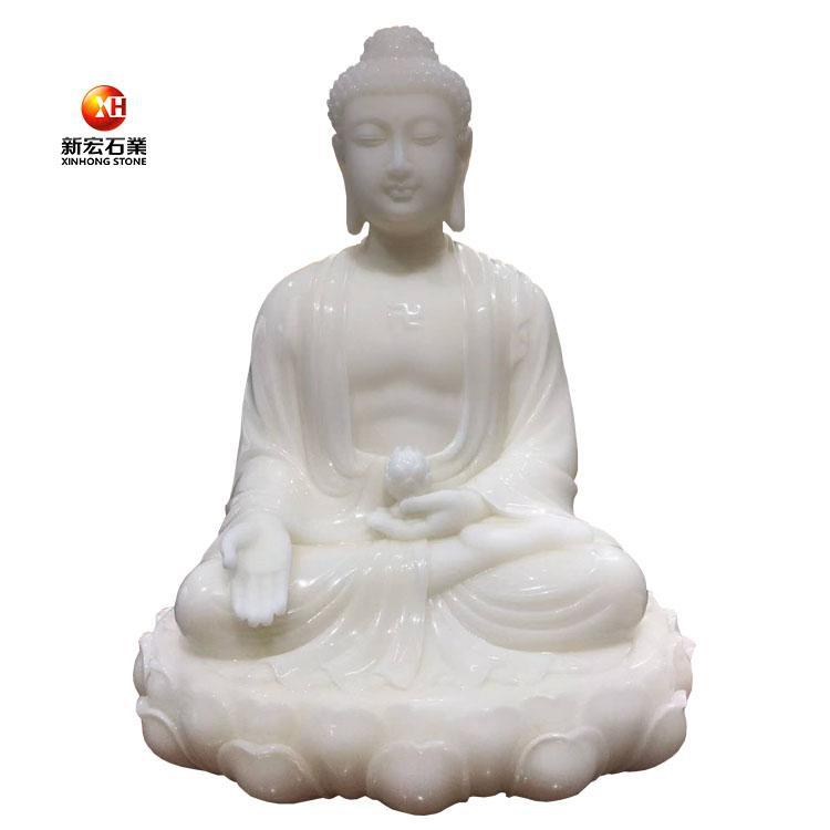 厂家供应天然汉白玉室内石雕坐如来菩萨摆件雕刻