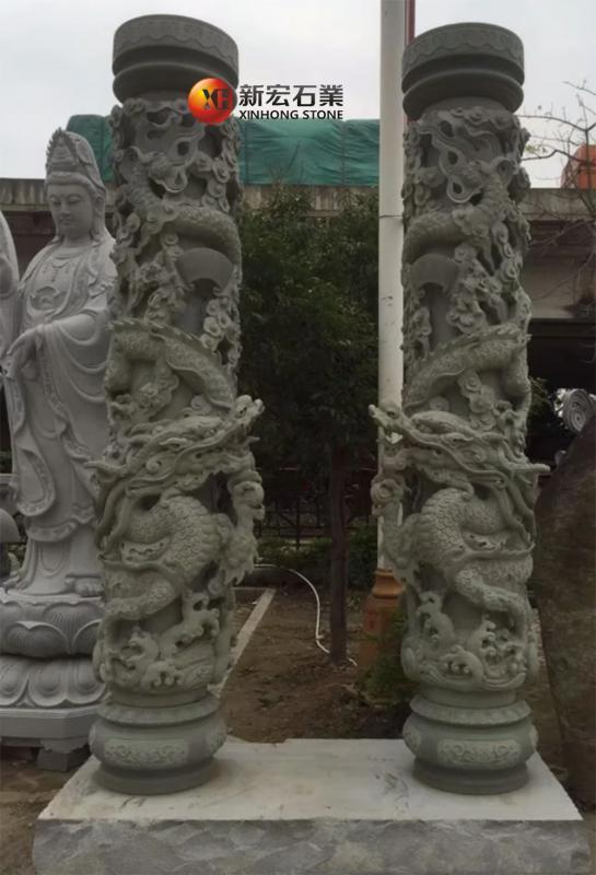 厂家供应古建梁柱雕塑 花岗岩浮雕盘龙柱 精雕优质石雕龙柱定制
