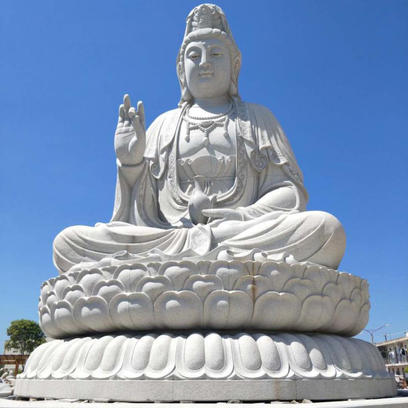 廠家供應石雕大型佛像三面觀音四面觀音凈瓶觀音座花崗巖寺廟佛像