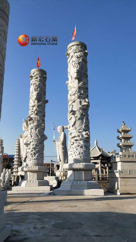 廠家供應城市廣場雙龍柱政府機關廣場景區雕塑石柱龍柱子