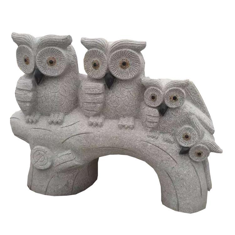廠家供應石雕動物雕刻樹頭貓頭鷹造型雕刻擺件