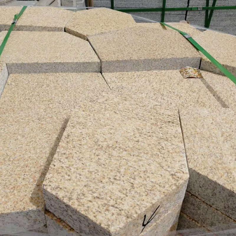黄锈石碎拼冰裂纹汀步石