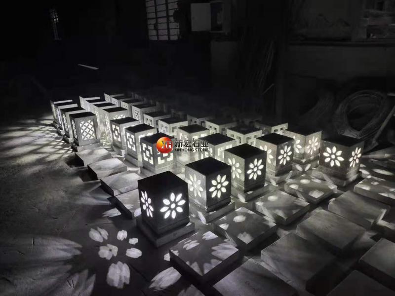 厂家供应石灯笼太阳能石灯庭院别墅立式石雕石灯草坪灯