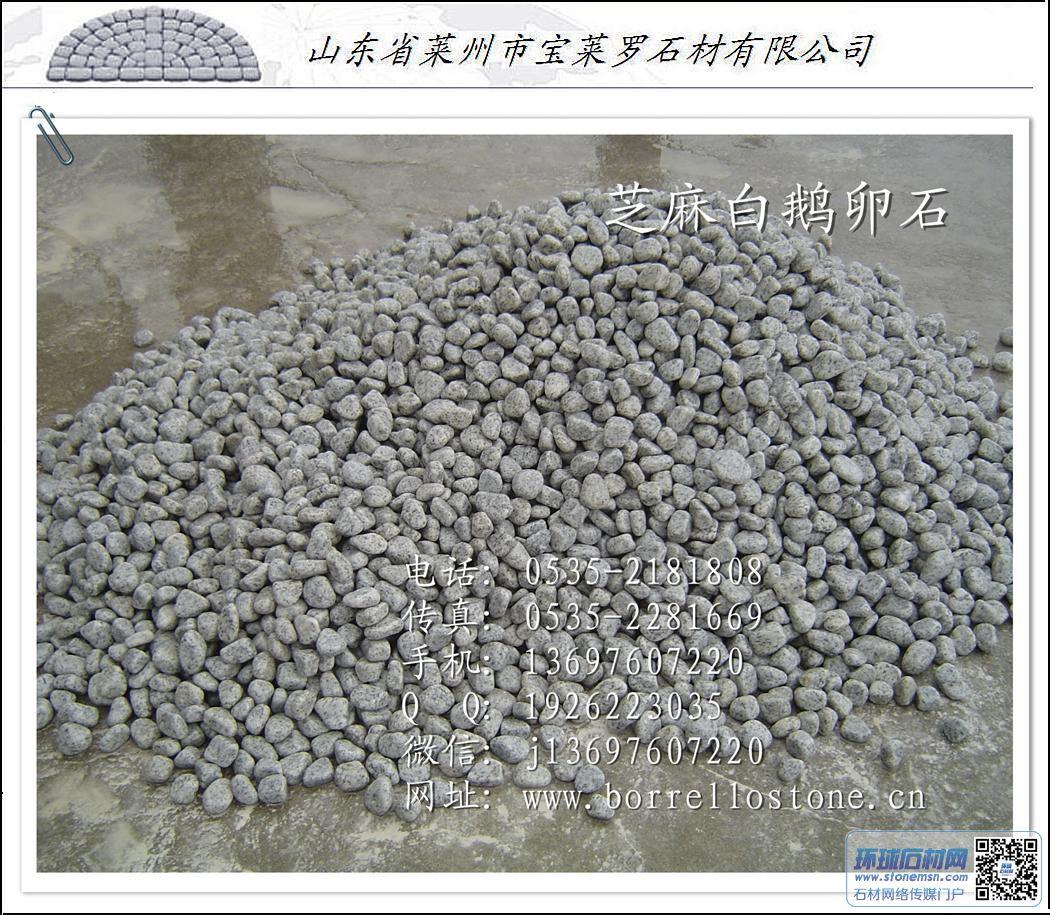 批发鹅卵石 芝麻白花岗岩鹅卵石