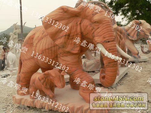 大象雕塑、母子象雕塑,石雕大象生产厂家