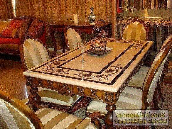 大理石餐桌石材拼花桌面