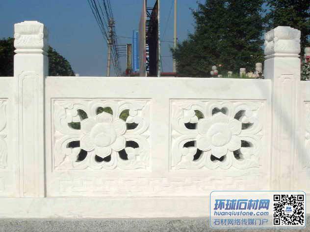 雪花白桥梁栏杆,白色大理石栏杆,雪花白雕刻