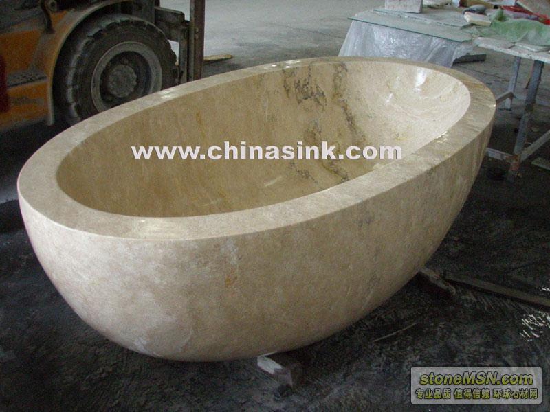 供應米黃洞石浴缸、大理石浴缸