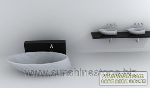 供应卡拉拉白洗脸盆和浴缸