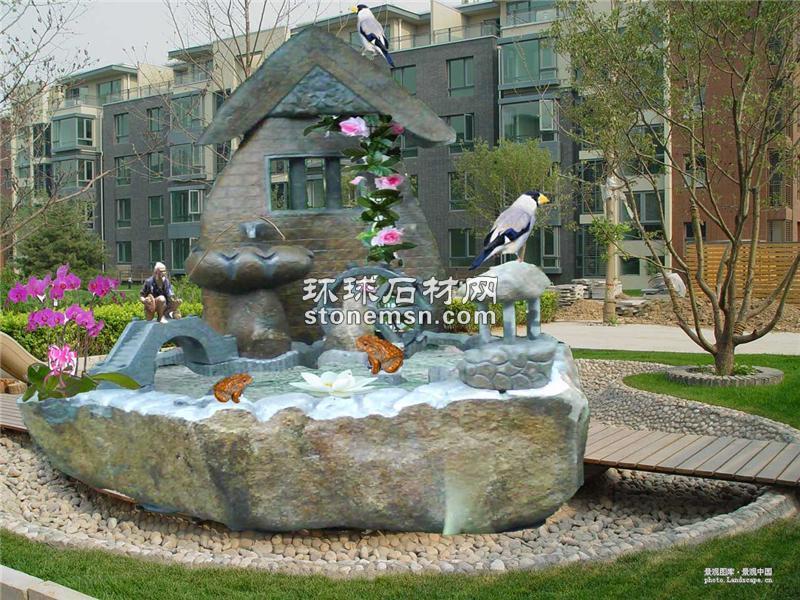 景观水车、自然流水、流水池、养鱼池、景观喷泉、喷泉流水、景观
